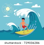 man surfing on wave. vector... | Shutterstock .eps vector #729036286