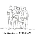 happy family sketch  outlines ... | Shutterstock . vector #729036652