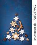 gingerbread snowflakes and... | Shutterstock . vector #729037912