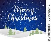 merry christmas card on blue... | Shutterstock .eps vector #729040342