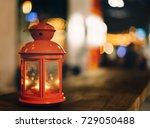 red lantern candel lamp on... | Shutterstock . vector #729050488