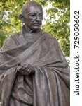 London, 28th September 2017:-Statue of Mahatma Gandhi in Parliment Square - stock photo
