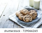 homemade oatmeal cookies with... | Shutterstock . vector #729066265