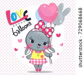 Stock vector cute cartoon rabbit girl wearing a pink bow on her head standing holding balloons on polka dot 729068668
