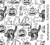 halloween holiday vector... | Shutterstock .eps vector #729070372