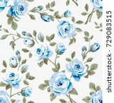 seamless pattern with blue... | Shutterstock .eps vector #729083515