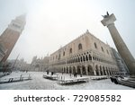 Small photo of Snow in Venice on March 10th, 2010. in the Pic: San Marco square