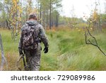 hunter in camouflage with... | Shutterstock . vector #729089986