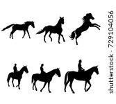 horse with a rider silhouettes... | Shutterstock .eps vector #729104056