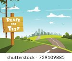 wooden village sign and city in ... | Shutterstock .eps vector #729109885