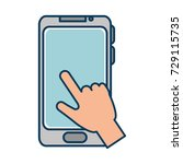 hand user with smartphone... | Shutterstock .eps vector #729115735