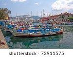 City harbor in marmaris with boats, sunny day - stock photo