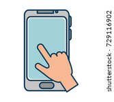 hand user with smartphone... | Shutterstock .eps vector #729116902