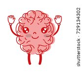 kawaii cute happy brain with... | Shutterstock .eps vector #729134302