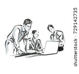 vector line sketch of people... | Shutterstock .eps vector #729142735