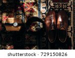 stylish watch shoes and belt... | Shutterstock . vector #729150826
