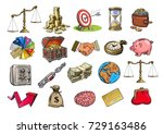 business set. scales  stack of... | Shutterstock .eps vector #729163486