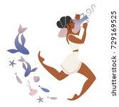 ancient greece girl carrying an ... | Shutterstock .eps vector #729169525
