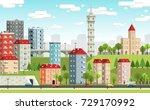 european city landscape with... | Shutterstock .eps vector #729170992