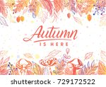 autumn is here.hand drawn... | Shutterstock .eps vector #729172522