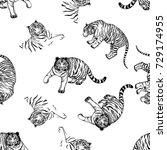 seamless pattern of hand drawn... | Shutterstock .eps vector #729174955