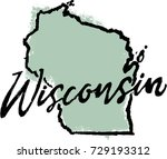 Hand Drawn Wisconsin State...