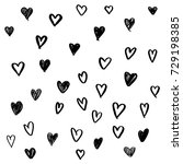 set of hand drawn heart.... | Shutterstock .eps vector #729198385