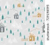 simple hand drawn forest in... | Shutterstock .eps vector #729198595