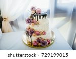 wedding cake with flowers | Shutterstock . vector #729199015