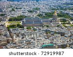 Dome of Les Invalides in Paris view from the Eiffel tower, France. - stock photo