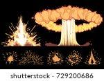 explosions. vector cartoon... | Shutterstock .eps vector #729200686