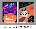 spooky halloween party vector... | Shutterstock .eps vector #729202516