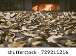 dried mushrooms on the table on ... | Shutterstock . vector #729211216