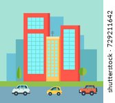 colorful and flat building set  ... | Shutterstock .eps vector #729211642