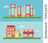 colorful and flat building set  ... | Shutterstock .eps vector #729211675