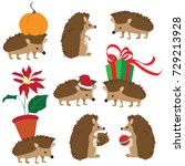 colorful vector set of cute... | Shutterstock .eps vector #729213928