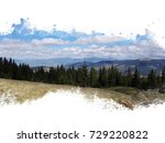 Small photo of coniferous forest in the mountains, fir trees stand in a row, in the background they have mountains and a mountain chain, a mountain landscape, stylized watercolor frame