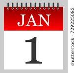 1 jan   daily calendar ... | Shutterstock .eps vector #729225082