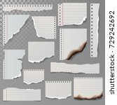 pieces of torn white lined... | Shutterstock .eps vector #729242692