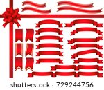 a set of various red ribbons ... | Shutterstock .eps vector #729244756