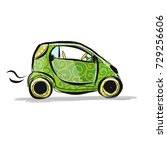 small smart car  sketch for... | Shutterstock .eps vector #729256606