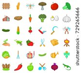 gardening icons set. cartoon... | Shutterstock .eps vector #729265666