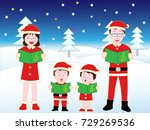 christmas concert with family. | Shutterstock .eps vector #729269536