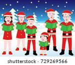 christmas concert with family. | Shutterstock .eps vector #729269566