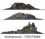 3d illustration heaps of rubble ... | Shutterstock . vector #729273586