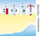 A Row Of Beach Huts Against...