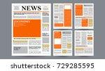 newspaper template vector.... | Shutterstock .eps vector #729285595