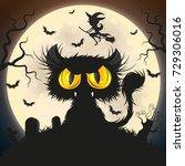 halloween black cat moon night... | Shutterstock .eps vector #729306016