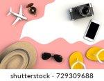 top view of traveler's... | Shutterstock . vector #729309688