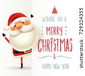 santa claus with big signboard. ... | Shutterstock .eps vector #729324355